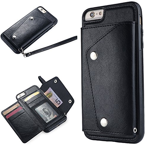 WIWJ iPhone 6 Plus Hülle,iPhone 6S Plus Leather Handyhülle, Handyhülle Wallet Case[Modisch Leder Handy Shell mit Geldbörse] Flip Schutzhülle für iPhone 6 Plus/iPhone 6S Plus-Schwarz