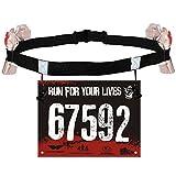 VWH Unisexe Triathlon Marathon Race Numéro Ceinture avec Porte-Gel Courroie Courroie Ceinture Tissu Moteur Course Sports de Plein Air