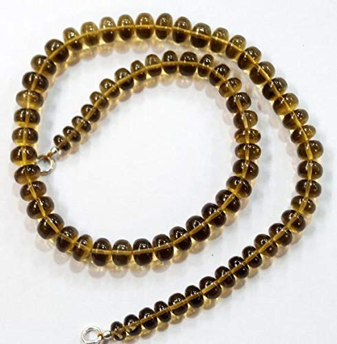 LOVEKUSH LKBEADS Collar completo de cuarzo de piedra natural de cerveza de 43,18 cm, 6 a 8 mm, código HIGH-60565
