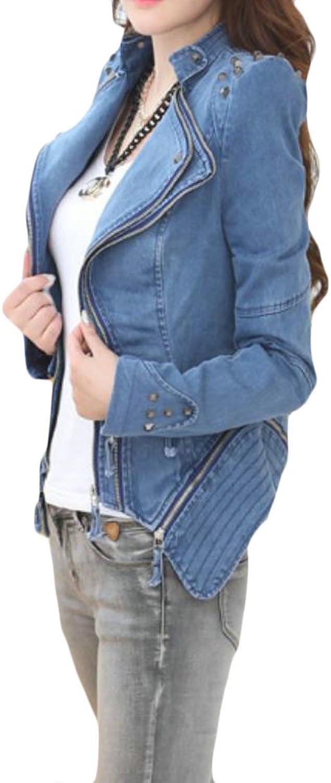 Etecredpow Womens Washed Faded Moto Biker Rivet Jean Coat Stylish Denim Jacket
