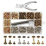 KAKOO 300 Set Leder Nieten Doppelkappe Rivet in 3 Größen, Tubular Metall Ohrstecker Hohlnieten mit 3 Fixierwerkzeug Papier Lochzange Aufbewahrungsbox für DIY Handwerk Reperatur Dekoration 3 Farben