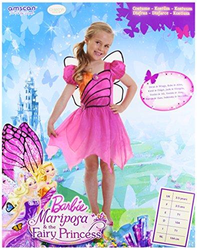 Barbie CA13727V3-S - Kinderkostüm Mariposa Fairy, Größe S, violett/pink
