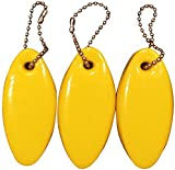 JQuad 3 Pack Vinyl Coated Yellow Floating Keychain Key Floats -Made in The USA- (Yellow)