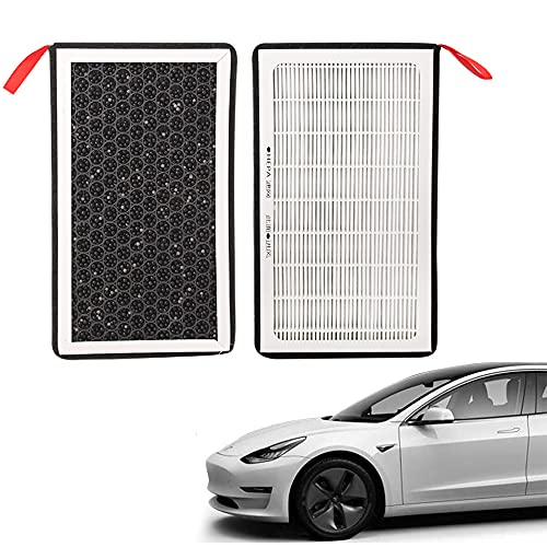 Tesla Model 3 Model Y Air Filter HEPA 2 Pack with Pm2.5 Activated Carbon Three-Layer Purifier Suitable for All Tesla Model 3 from 2017-2021,Air Conditioner Replacement Cabin Air-Filters