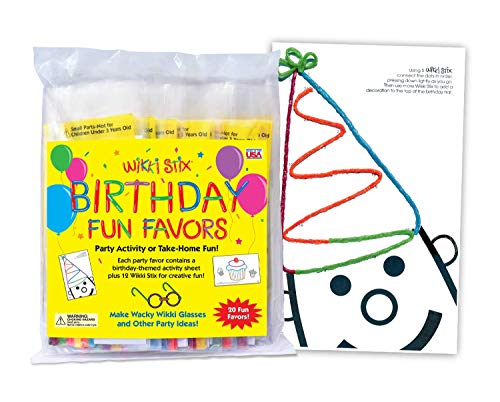 WikkiStix 108 Birthday Fun Favors, Pack of 20 Molding & Sculpting Sticks