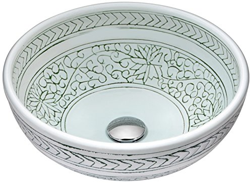 ANZZI Cadence Modern Tempered Deco Glass Vessel Bowl Sink in Decor White | Top Mount Bathroom Sinks Above Counter | Round Vanity Countertop Sink Bowl with Pop Up Drain | LS-AZ185