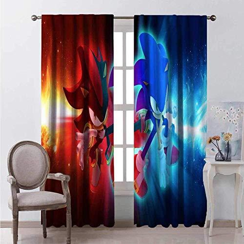 Cortinas opacas de 2 paneles con ojales, cortinas decorativas de ventana de aislamiento térmico súper suaves para dormitorio, sala de estar y guardería Dibujos animados anime azul y rojo largo sonic e