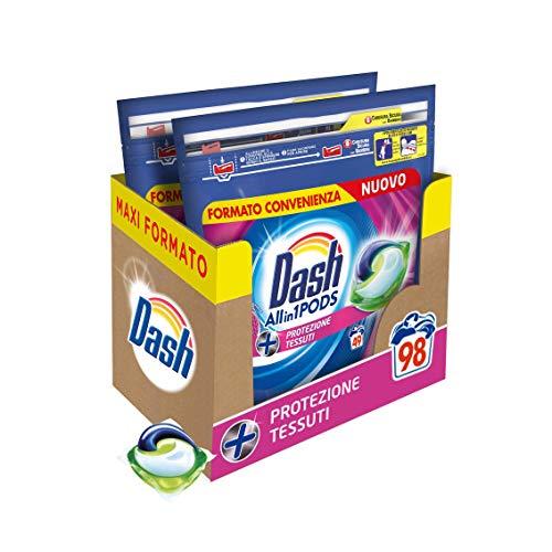 Dash All in 1 Pods Detersivo Lavatrice in Capsule, 98 Lavaggi (2 x 49), Protezione Tessuti, Maxi Formato, Salva Forma, Anti-Pelucchi, Per Tutti i Capi