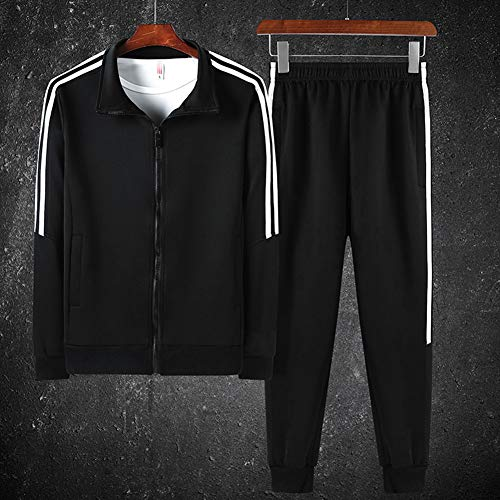 ZWLXY Mens Anzug Set Contrast Cord Pants Pullover Mit Reißverschluss Hose Gym Sportanzug Sets Jogger Hosen Reißverschlusstaschen,Schwarz,XXXXL