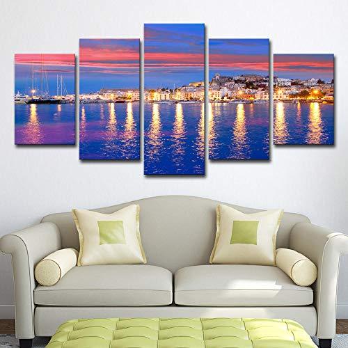 FGDH&SDF Drucke auf Leinwand 5 Stücke Hintergrundwand Leinwand Wandkunst Poster Schöne Ibiza Abend Seestück, B-Mit Rahmen 40X60X2 + 40X80X2 + 40X100Cmx1 Wall Art HD Home Decor Dekoration Poster