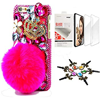 STENES Bling Case Compatible iPhone 11 Pro Max - Stylish - 3D Handmade [Sparkle Series] Crown Rabbit Tail Villus Flowers Design Cover with Screen Protector [2 Pack] - Red