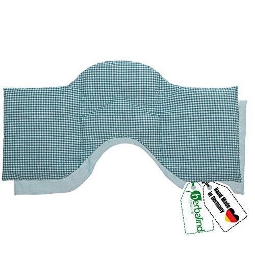 HERBALIND 4-Kammer Wärmekissen Körnerkissen Schulter Nacken 50x20 cm in Karo/petrol - 100% Baumwolle - Getreidekissen mit Bio Roggen- und Weizen Füllung für Mikrowelle - Geschenk für Männer