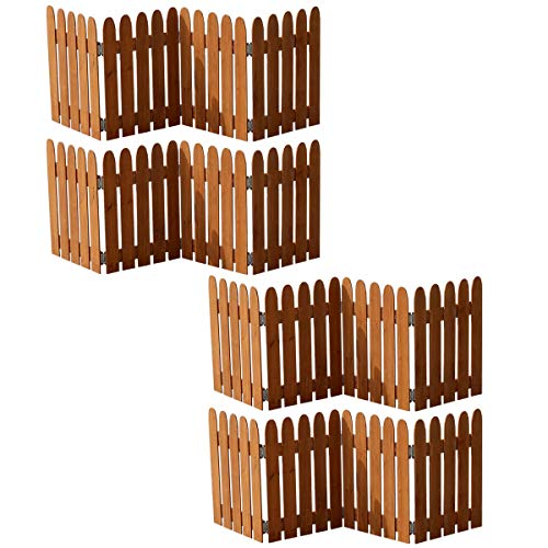 ミニ フェンス 折りたたみ 木製 置くだけ 庭 仕切り 目隠し ドッグラン 4枚組 ライトブラウン