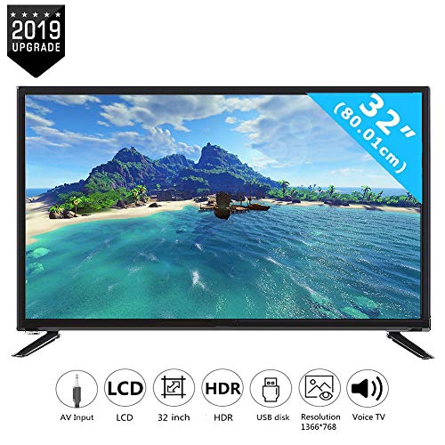 Wendry 32-inch HD-LCD-televisie, multifunctionele ultra-HD-tv 1366 * 768 ondersteunt USB-HDMI-HF-antenne-ingang, geïntegreerd social-geluid 110-240 V, zwart