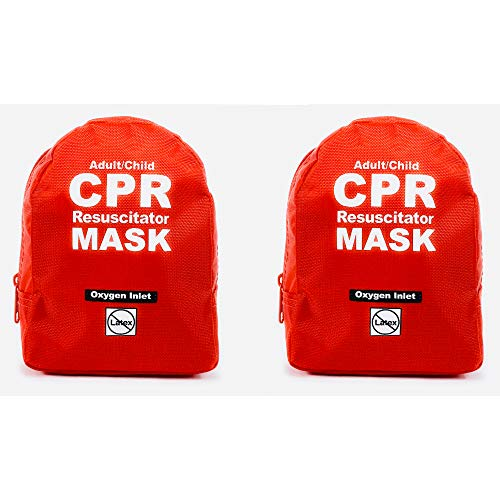 WNL Products CPR Rescue Mask, Adult/Child Pocket Resuscitator, Soft Case Kit with Belt Clip 2 Pack