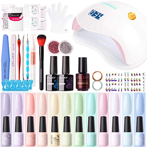 Gellen 12 Colors Gel Nail Polish Starter Kit - with 72W UV/LED Nail Lamp Top Base Coat, Essential Home Manicure Tools Popular DIY Nail Art Designs Matte/Glitters/Rhinestones, Macaron Candy
