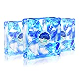 AAB Cooling Super Silent Fan 9 Blue LED - Una Silenziosa e Molto Efficiente 92mm Ventilatore per Case PC | Ventola Aspirazione | Raffreddamento PC | Ventola 92 LED | 9cm - Set di 3 Pezzi