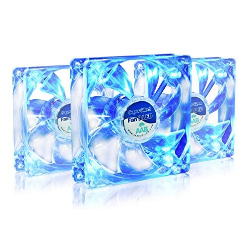 AABCOOLING Super Silent Fan 9 Blue LED - Una Silenziosa e Molto Efficiente 92mm Ventilatore per Case PC, Ventola Aspirazione, Raffreddamento PC, Ventola 92 LED, 9cm - 3 Pezzi 13,6 Db
