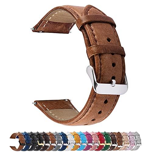 Fullmosa 20mm Uhrenarmband, Lederarmband Ersatzband,austauschbares Uhrenarmband für Herren Damen, 20mm Braun+Silberne Schnalle