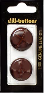 Dill Shank Buttons 1 in. Leather Brown #1100 2pc.
