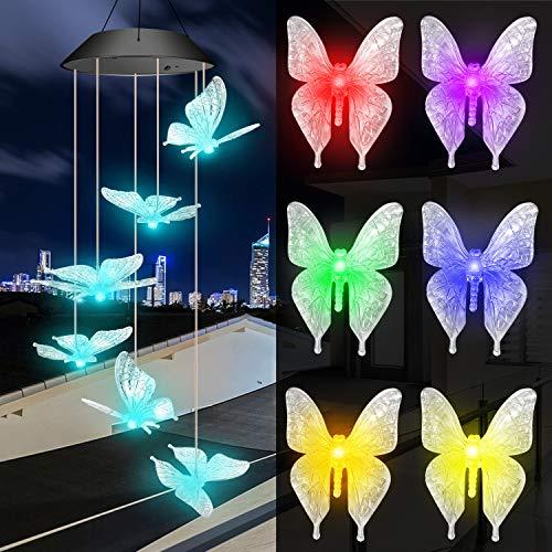 Solarleuchten Windspiele für Außen mit Farbwechsel, Solar LED Gartenbeleuchtung Schmetterling Windspiele Beleuchtung, Wasserdicht Hängeleuchte Deko für Terrasse/Garten Party/Baum