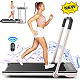 FUNMILY Folding Treadmill, 2 in 1 Under Desk Treadmill for Home Office Walking Jogging Running, Installation-Free, with Bluetooth Speaker Remote Control and LED Display, Golden
