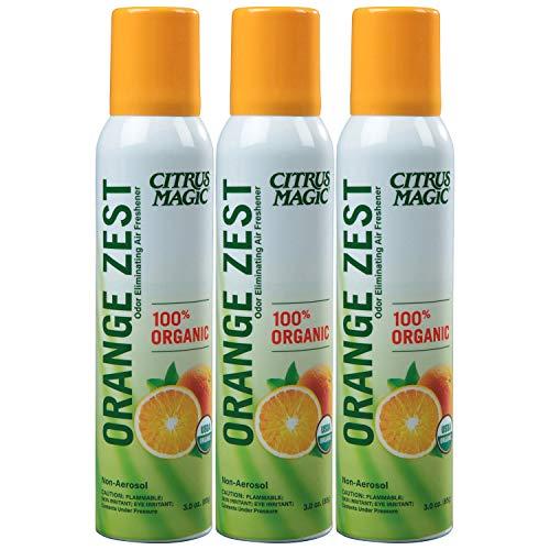 Citrus Magic Organic Odor Eliminating Air Freshener Spray, Orange Zest, Pack of 3, 3.0-Ounces Each