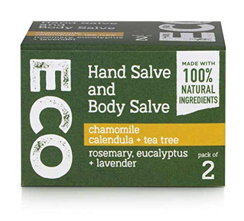 Hand and Body Salve (Pack of 2) 100% Natural, Vegan, Palm Oil Free, Plastic Free, Handmade in the UK, Fully Recyclable Packaging