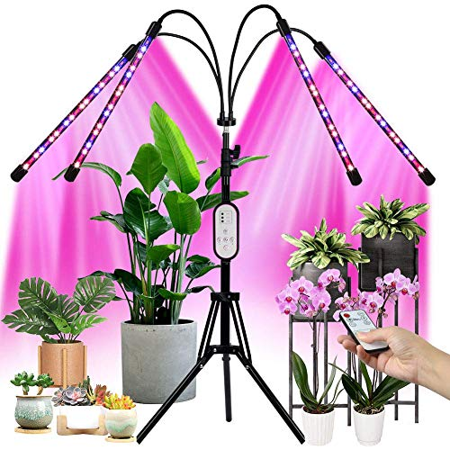 "Full Spectrum LED Grow Light for Indoor Plants with 60"" Extendable Tripod Stand, Upgraded Plant Growing Lamps with Remote Controll, 3 Modes, 9 Dimmable Level, 4/8/12H Auto ON/Off Timming"