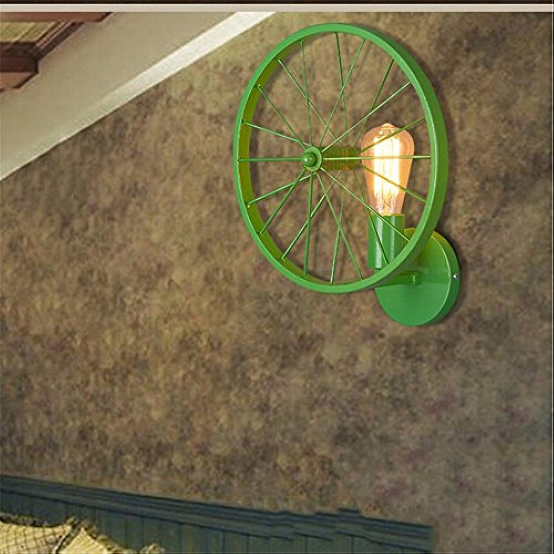 Pouluuo American Schmiedeeisen Farbe Rad Wand Lampe Restaurant Bar Persnlichkeit kreative Gang Retro-Wandleuchte (33cm)   grün