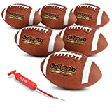 GoSports Combine Football 6 Pack - Regulation Size Official Composite Leather Balls