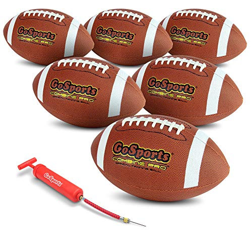 GoSports Combine Football 6 Pack   Regulation Size Official Composite Leather Balls
