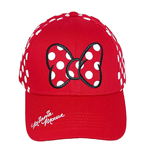 Disney Minnie Mouse Polka Dot Bow Womens Baseball Hat, Red, One Size