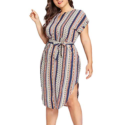 Robe Longue Femme Grande Taille Robe de Soiree Grande Taille, Boheme Robe Longue Femme Ete 2019 Chic Tunique Chic Grossesse, Rayure Robe de Plage Robe Longue Femme