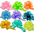 "Easter Gift Basket Pull Bows - 5"" Wide, Set of 9, Pink, Green, Blue, Lavender, Yellow, Pastels, Birthday, Presents, Wreath, Swag, Easter, Spring, Pride, Baby Shower, Decoration, Classroom, Office"