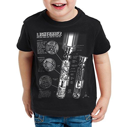style3 Laserschwert Blaupause T-Shirt für Kinder Jedi Lichtschwert, Farbe:Schwarz;Größe:152