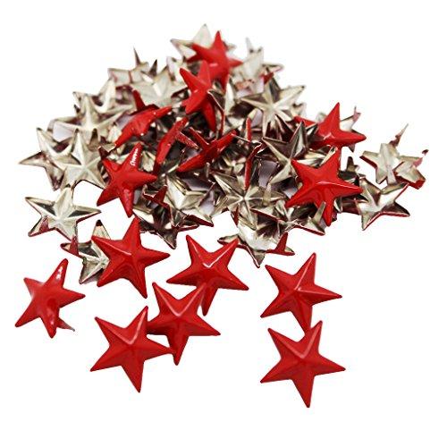 oshhni 50 Piezas Grandes Remaches de Estrella Roja Remaches Punk Artesanía en Cuero DIY Remaches de Garra Punk 15 Mm