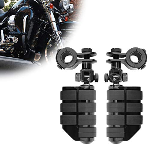 GDAUTO Motorcycle Footpegs Foot Rest Highway Pegs Motorcycle Foot pegs(Chrome) for Harley Honda Yamaha Road King Street Glide Suzuki Engine Guard Kawasaki