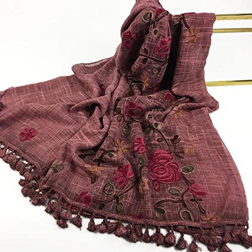 UKKO Bufanda Algodón De Mujer Hijab Bufanda Cálido Bordado Suave Mantón Flor Tassel Diadema Long Wraps Sffler Pashmina Bandana-1,180-90