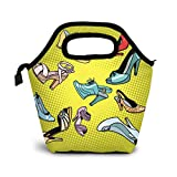 Yanyisisx Ladies Shoes Grunge Style Template Vector Lunch Bag Food Container Gourmet Tote Cooler Warm Pouch for School Work Office