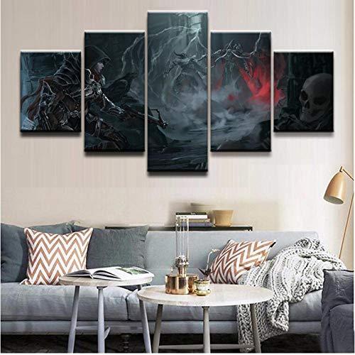 Modern Home Wandkunst Dekor Rahmen Bilder Kunstdruck 5 Stücke Barbar Dämonenjäger Diablo Reaper Of Souls Für Jungen Zimmer Poster - 30cmX60cmX2 30cmX70cmX2 30cmX80cmX1