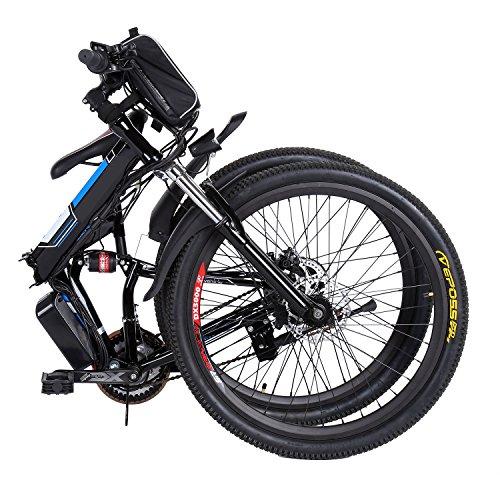 Profun Vélo de Montagne électrique 27.5/26/20 Pouces 350W/250W avec Shimano 24/21/7 Vitesse E-VTT avec Batterie au Lithium Amovible 36 V 10.4Ah/36V 8Ah pour Hommes Femmes (26'' Noir Pliable)