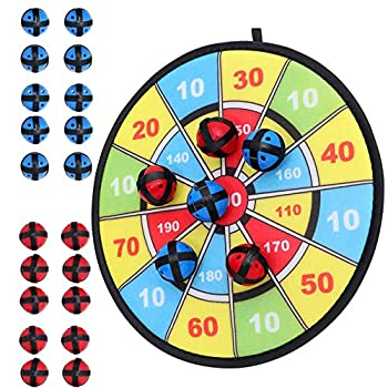 Kids Dart Board Game with 20 Balls Using Hook-and-Loop Fasteners   11.8 Inches  30 cm  Diameter   Classic Dartboard Game and Safe for Kids  Blue and Yellow