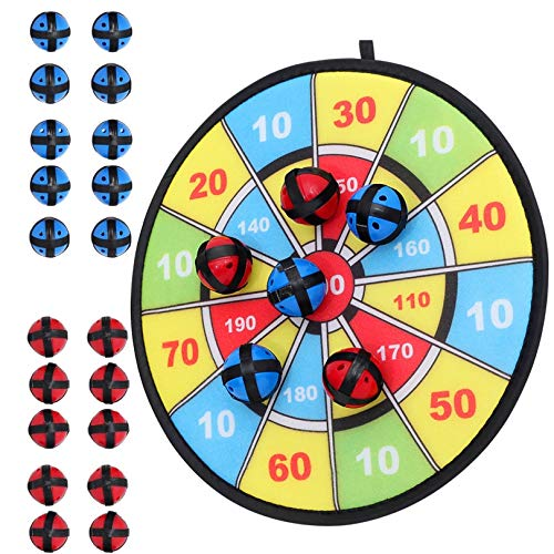 Kids Dart Board Game with 20 Balls Using Hook-and-Loop Fasteners | 11.8 Inches (30 cm) Diameter | Classic Dartboard Game and Safe for Kids (Blue and Yellow)