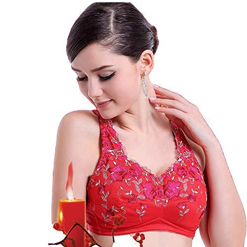 BaronHong Sujetador inalámbrico Pechos Falsos Mastectomía de travestis de Senos de Silicona; Transparente, Floral (Rojo, 85B)