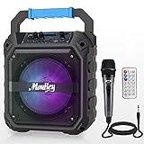 Moukey Sistema de Audio PA Altavoz Inalámbrica Portátil Recargable 6,5 Pulgadas Incluye Micrófono con Cable, Luces de DJ, Capacidad de Grabación, Radio TF Card/USB/FM