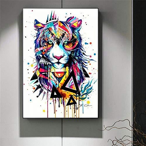 Frameloze Home wanddecoratie canvas poster voor kinderen met leeuw woonkamer olieverf canvas art dier poster <> 30x45cm