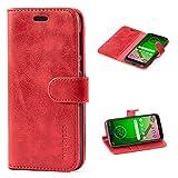 Mulbess Handyhülle für Motorola Moto G7 Play Hülle Leder, Motorola Moto G7 Play Handy Hüllen, Vintage Flip Handytasche Schutzhülle für Motorola Moto G7 Play Hülle, Wein Rot