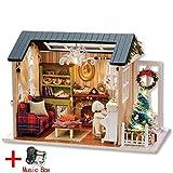 SKDHGFKAJSHJFKDHJK Puppenhaus Miniatur DIY Modell Puppenhaus mit Möbeln amerikanischen Retro-Stil...