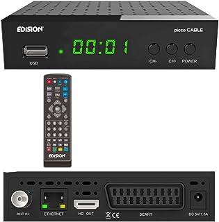 EDISION - Ricevitore Picco Cable Full HD, 1x DVB-C, LAN, USB, HDMI, SCART, S/PDIF, IR Auge, lettore di schede, telecomando...